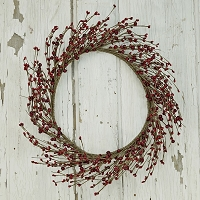 ISB1170-Red - 18in Combo Berry Wreath-Red 2/24pcs