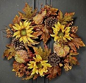 ISB62920 - 20in Sunflower and Gourds Wreath-1/6pcs