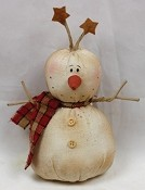 M7021 - 7.5inH Stuffed Rustic Snowman w.star on head-1/32pcs