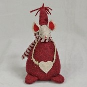 M8202 - 5inH Burlap Red Mouse-12/72pcs