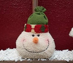 M8310 - 7inH Snowman head-Green Hat-12/96pcs