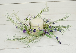 ISB69582 - 12in Country Lavender Blossom Wreath-4/48pcs