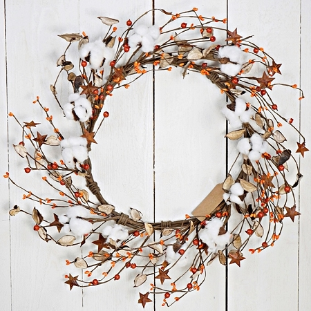 ISB69670 - 20in Country Cotton and Berry Wreath-ORN-2/8pcs