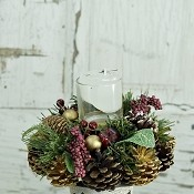ISB3031-XMAS-Pinecone Mix Berries Center Piece with Candle