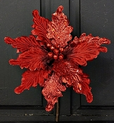 ISB62275 - 15in Velvet Poinsettia Head-RD-12/144pcs