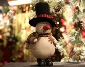 M2694 - 8inH country snowman w/hat-4/32pcs