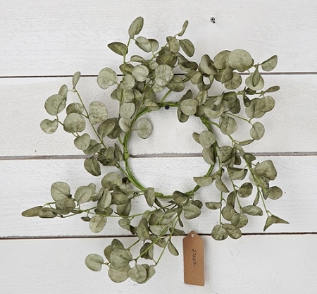 27022 - 16in(6.5) Foamy Silver Dollar Wreath-Sage-3/24pcs
