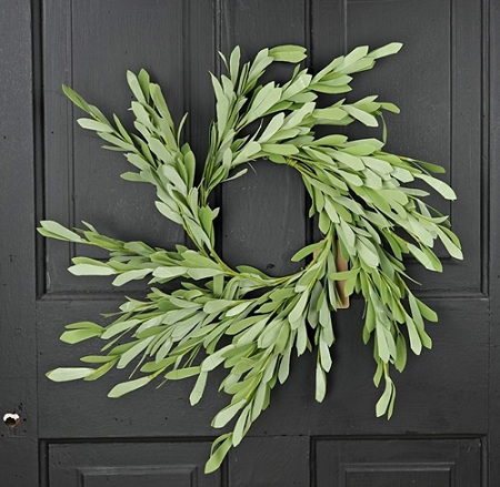 27062 - 16in(6.5) Foamy Willow Leaves Wreath-6/48pcs
