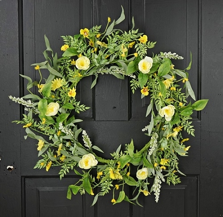 27080 - 22in Wreath-Yellow Daisy and Ranunculus-2/12pcs