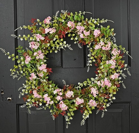27090 - 22in Wreath-Pink Hydrangea Boxwood leaves-2/12pcs
