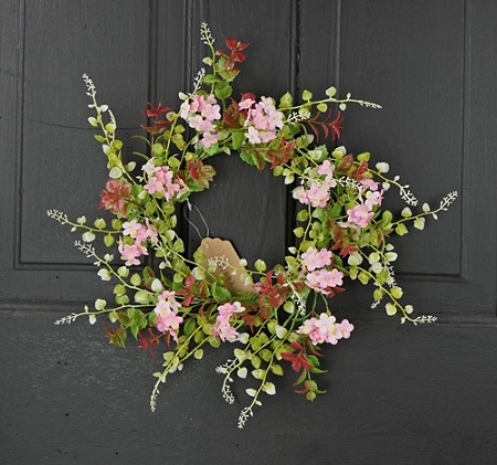 27092 - 14in(6.5)Wreath-Pink Hydrangea Boxwood leaves-6/48pcs