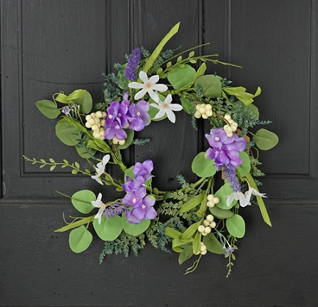 27102 - 14in(6.5)Wreath-Mixed Purple Hydrangea-6/48pcs
