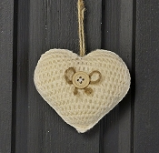M8628 - 3in CREAM Crochet Heart Ornament-1/120pcs