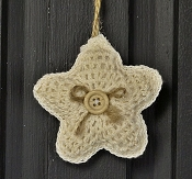 M8632 - 3in CREAM Crochet Star Ornament-1/120pcs