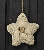 M8634 - 4.75in CREAM Crochet Star Ornament-1/120pcs