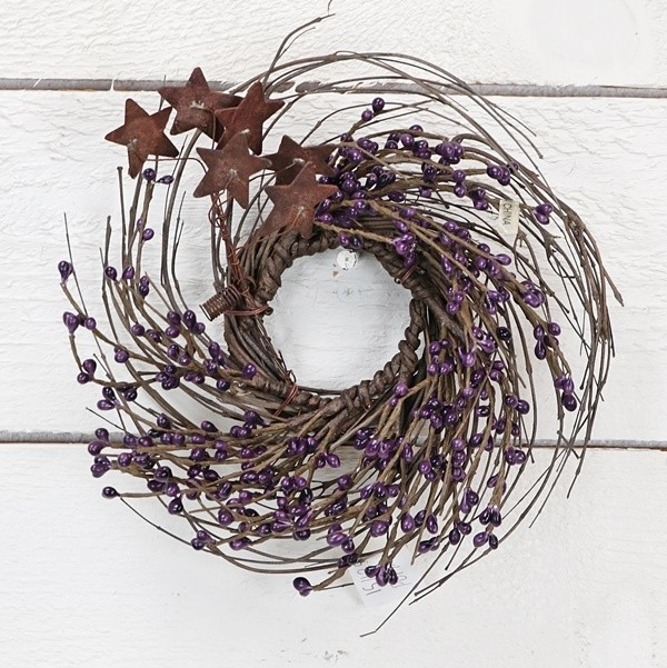 IS1125PUR - 9in Wreath-Purple-6/48pcs