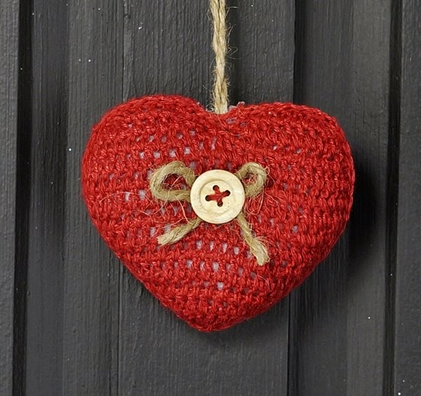 M8629 - 3in RED Crochet Heart Ornament-1/120pcs